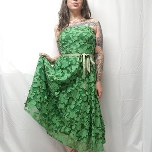 LILY Green Strapless Floral Applique Formal Dress